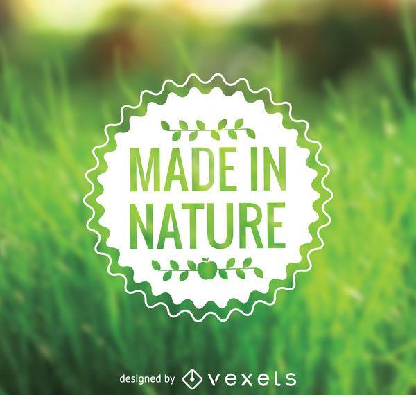 Etiqueta engomada de la comida hecha en la naturaleza