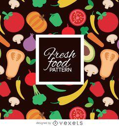 Patrón de verduras frescas de colores