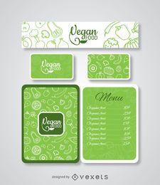 Modelo de menu de restaurante de comida vegan