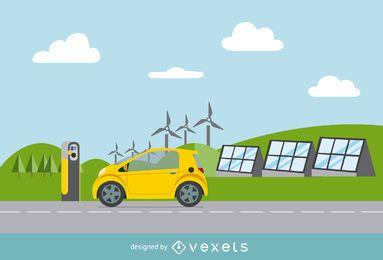 Tarjeta eléctrica con vector de fuentes de energía renovable.