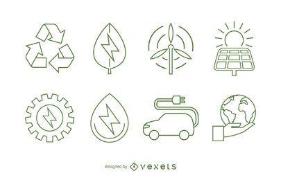 Ecologia e conjunto de ícones de energia renovável