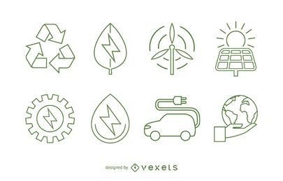 Ecology and renewable energy icon set