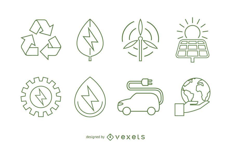 Conjunto de iconos de ecología y energías renovables