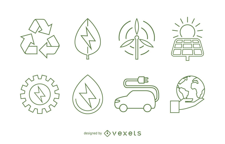Conjunto de ícones de ecologia e energia renovável