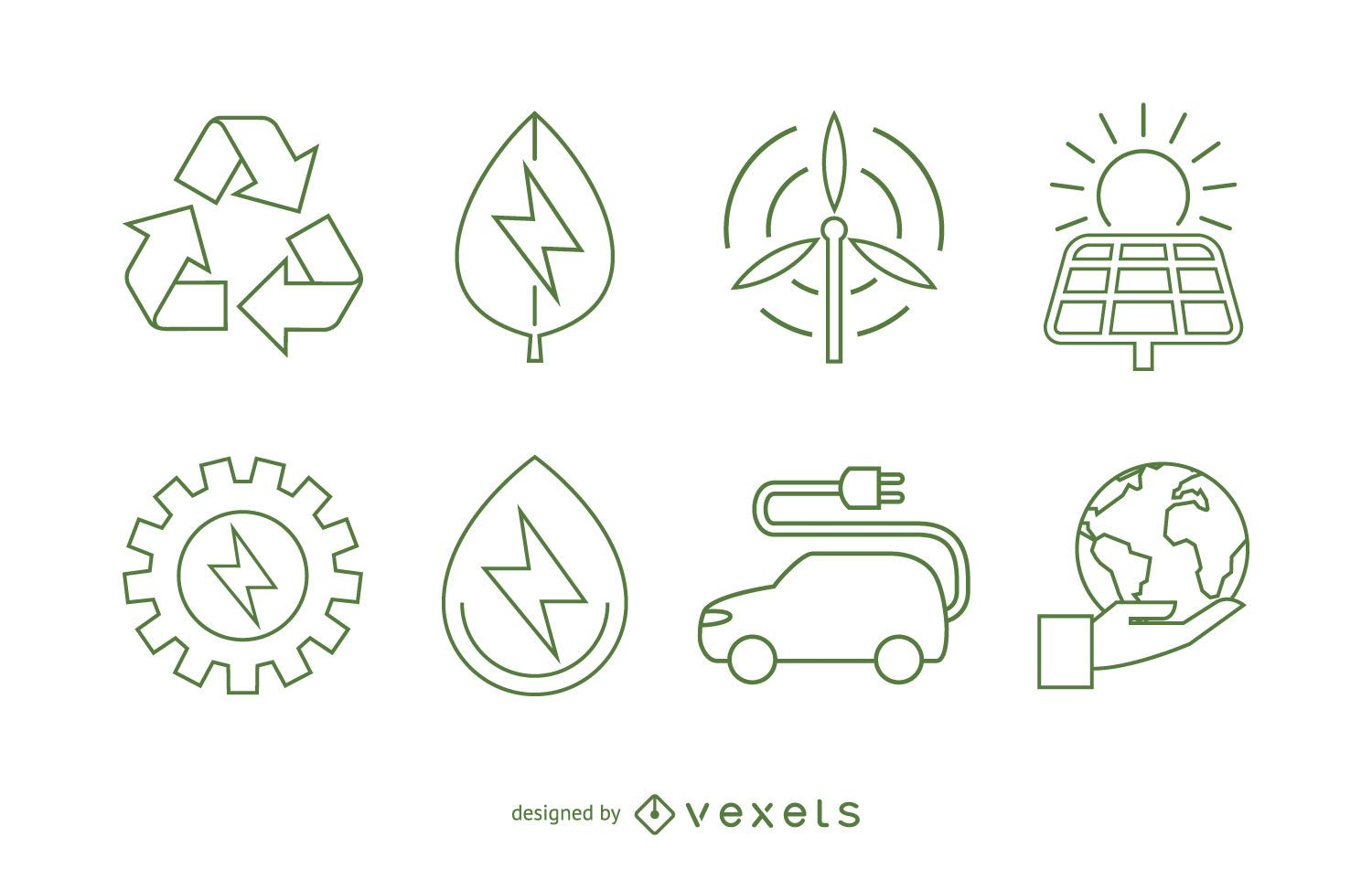 Ecology And Renewable Energy Icon Set Vector Download