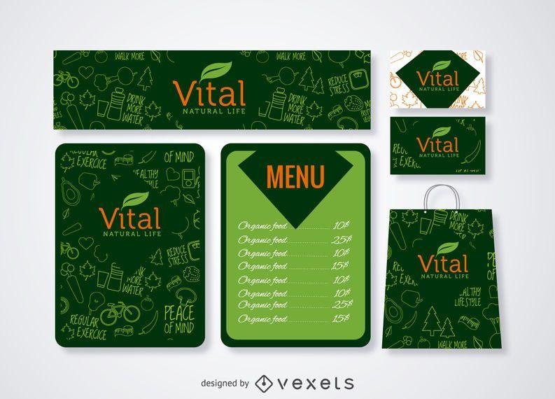 Menu de restaurante e maquete de marca em verde