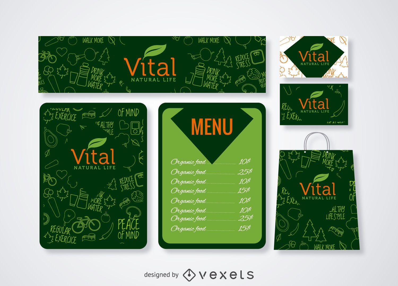 Restaurantmenü und Branding-Vorlage in grün gesetzt