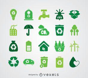 Colección de iconos de energías renovables y ecología.