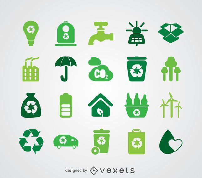 Coleção de ícone de energia renovável e ecologia