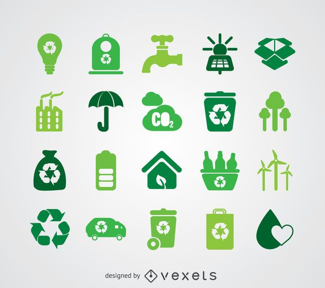 Renewable energy and ecology icon collection