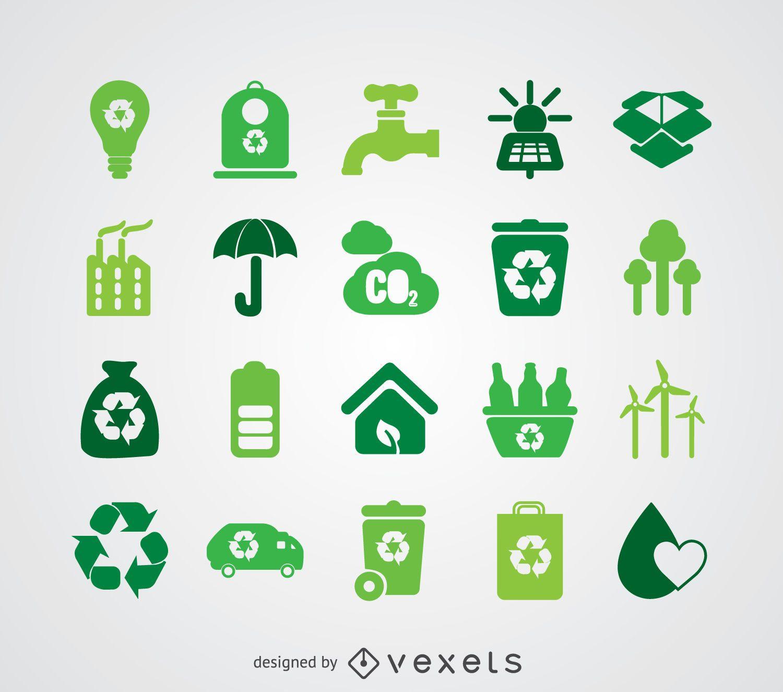 Coleção de ícones de energia renovável e ecologia
