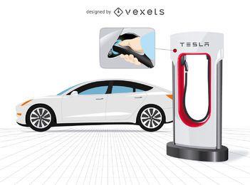 Coche de Tesla con cargador y de cerca.