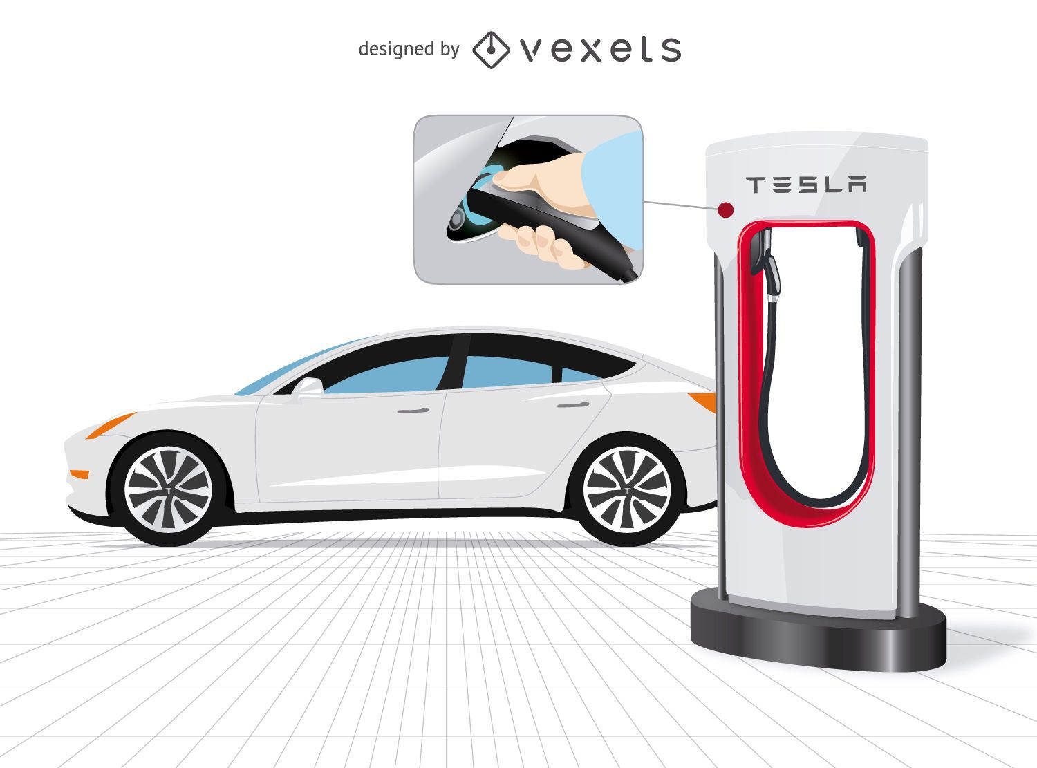 Tesla car with charger and close up