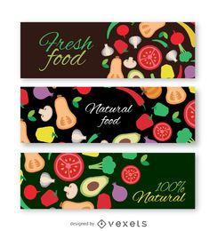 Conjunto de banners de verduras de colores