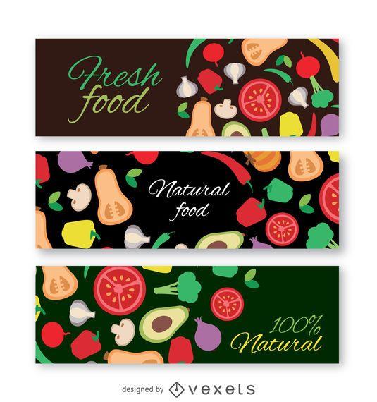 Conjunto de banners de verduras coloridas