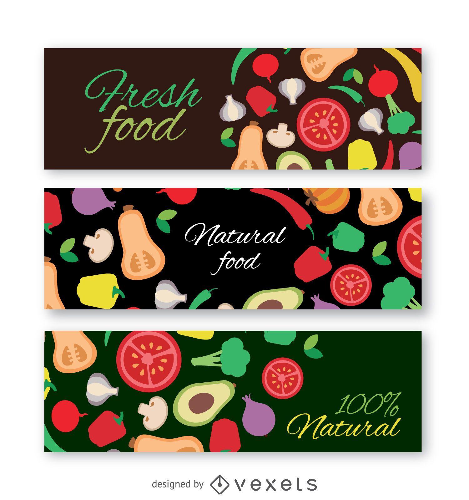 Colorful vegetables banner set