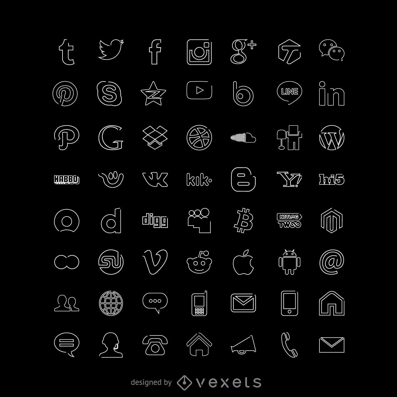 Colección de iconos de redes sociales blancas de línea delgada