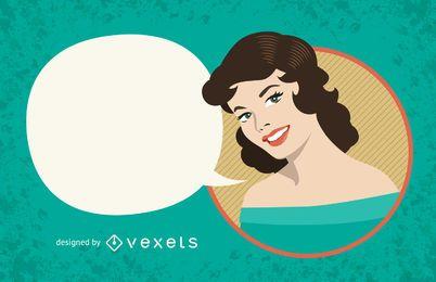 Signo de mujer vintage con burbuja de discurso