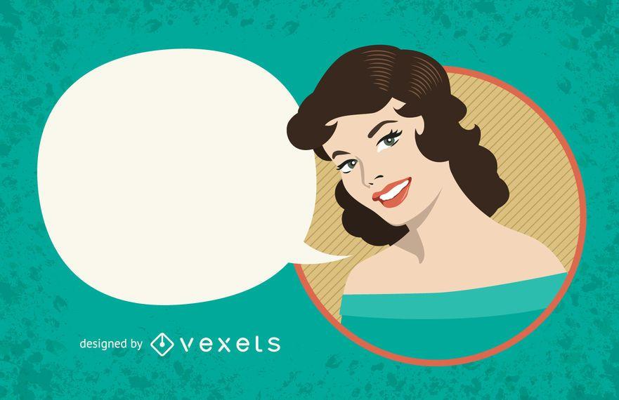 Signo de mujer vintage con burbujas de discurso