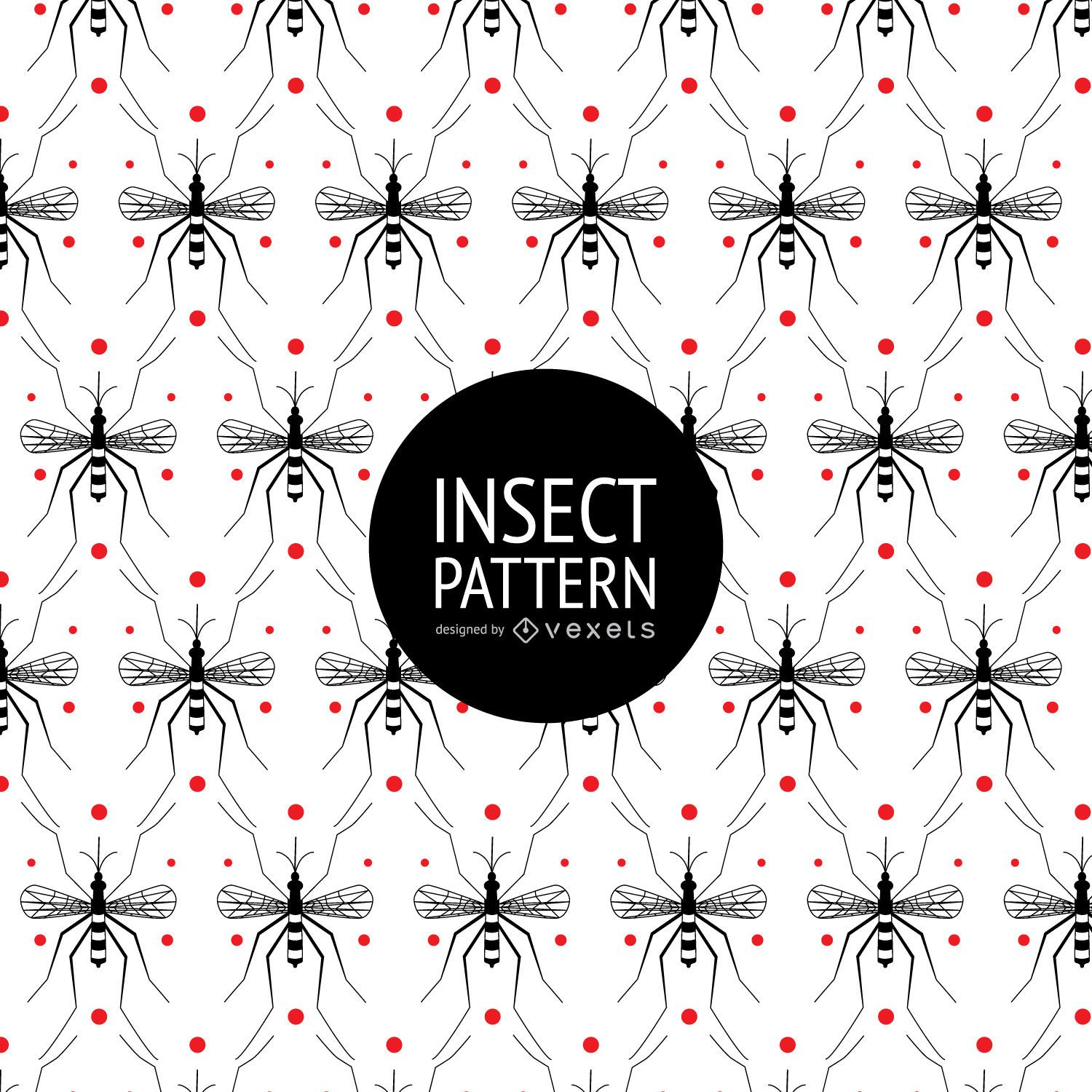 Insect seamless pattern with dots