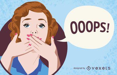 Ooops assine com mulher cobrindo a boca
