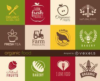 Conjunto de sinais e emblemas de comida saudável