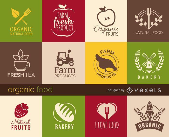 Conjunto de signos e insignias de alimentos saludables.