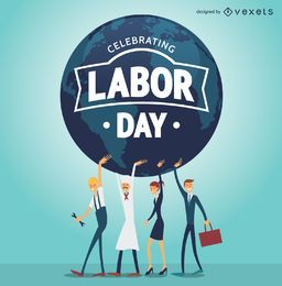 Cartel del día del trabajo con trabajadores sosteniendo el mundo.