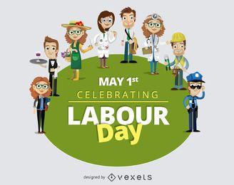 Tag der Arbeit 1. Mai Cartoonarbeiter
