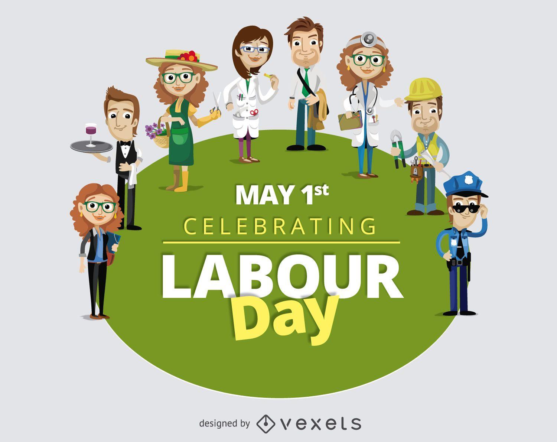 Trabalhadores dos desenhos animados do Dia do Trabalho 1º de maio