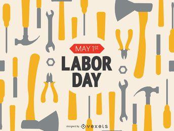 Día del Trabajo herramientas de trabajo con el mensaje