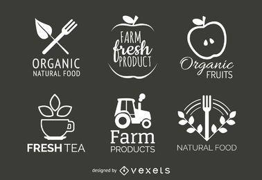 conjunto de etiquetas de alimentos orgânicos e naturais