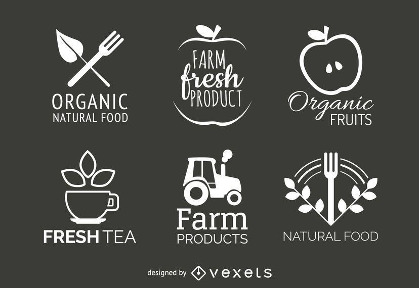 Conjunto de rótulo de alimentos orgânicos e naturais