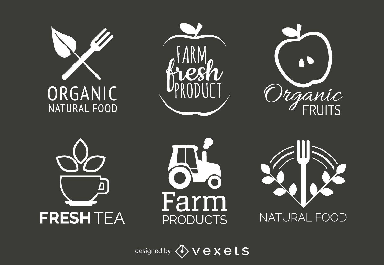 Organic and natural food label set
