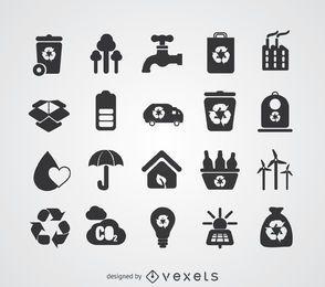 Energia verde e conjunto de distintivo de reciclagem