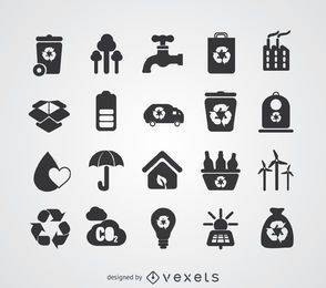 Grüne Energie und Recycling-Abzeichen gesetzt