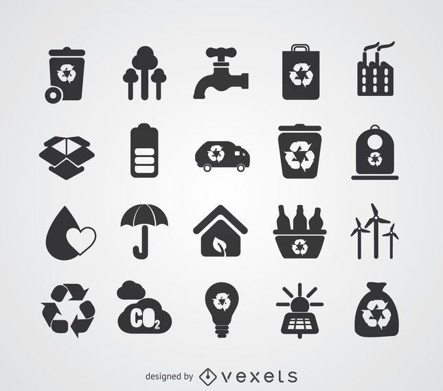 Conjunto de placas de energía verde y reciclaje.