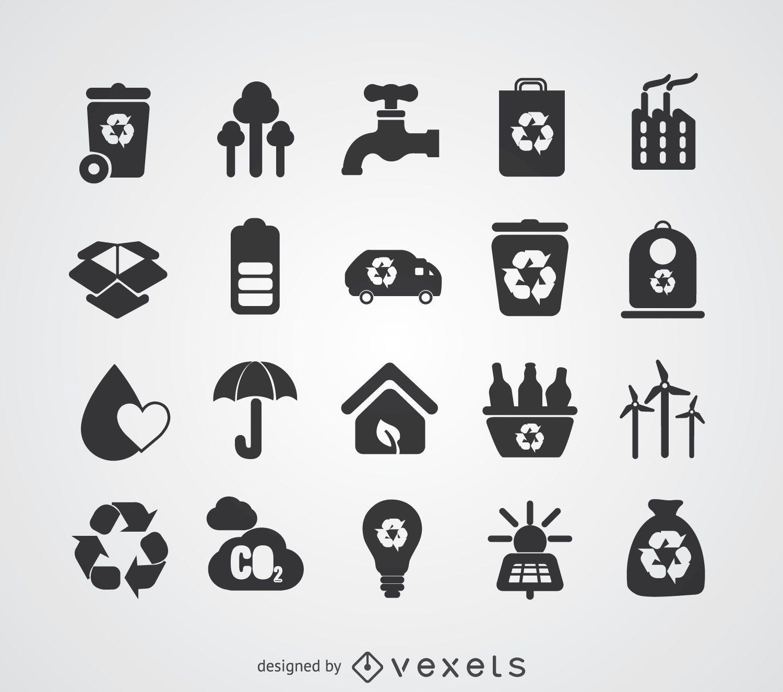 Conjunto de emblemas de energia verde e reciclagem
