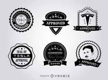 Conjunto de etiquetas de sellos de aprobación Hipster Tesla.