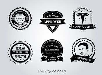 Hipster Tesla seals of approval label set