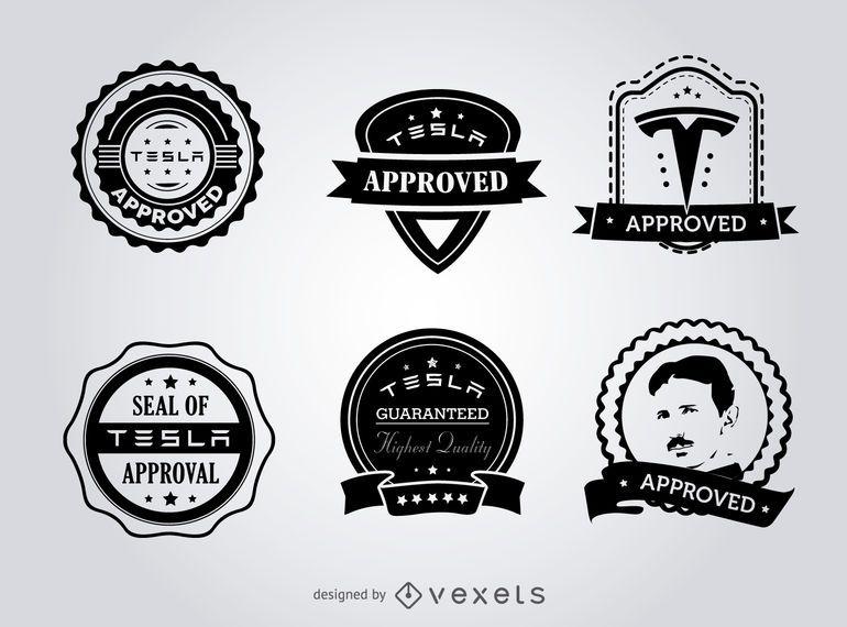 Selos de Tesla hipster do conjunto de etiqueta de aprovação