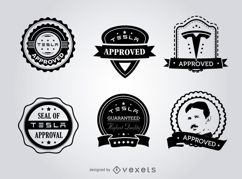 Hipster Tesla Seals Of Approval Label Set Vector Download