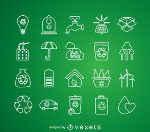 Linha fina reciclagem conjunto de ícones