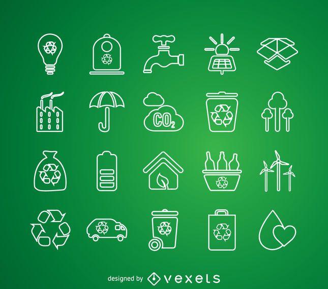 Conjunto de iconos de reciclaje de línea delgada