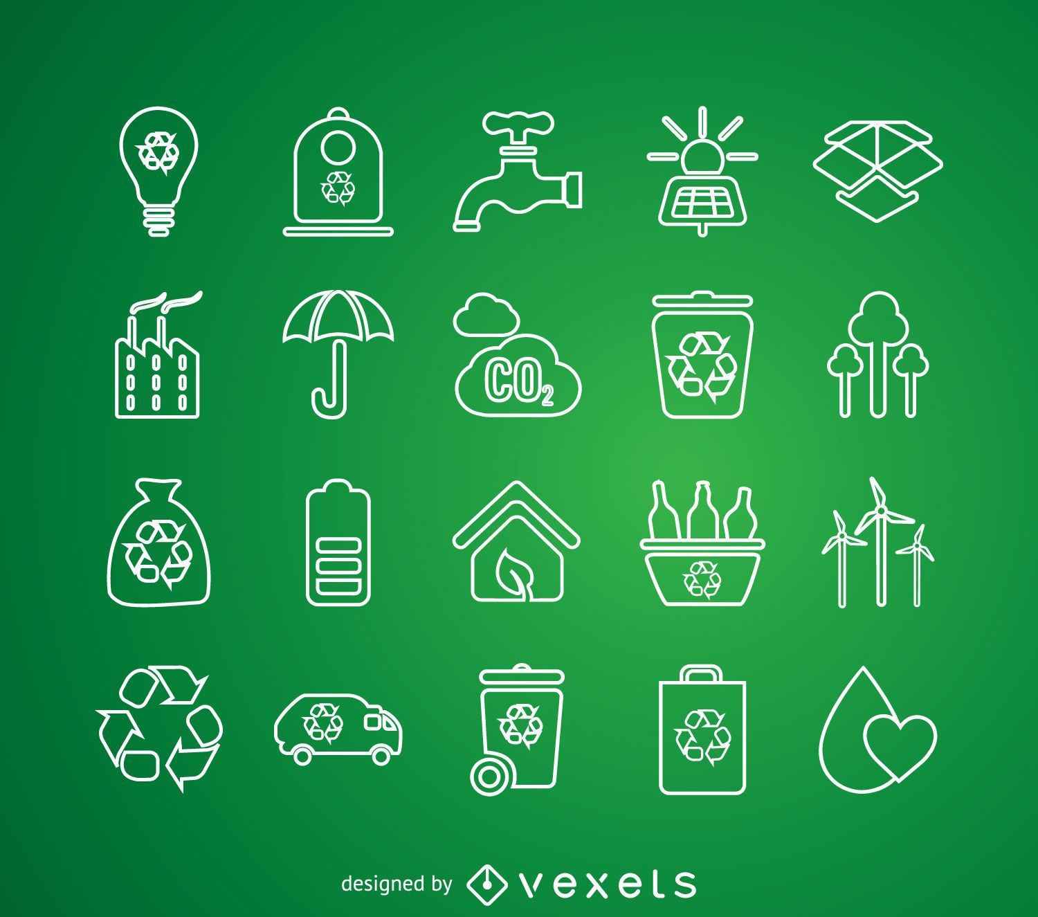 Thin line recycling icon set