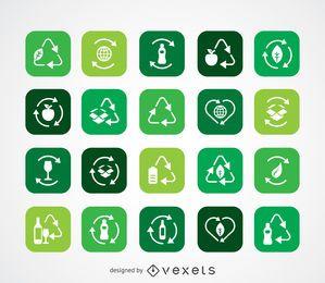 Coleção de ícone de ecologia e reciclagem