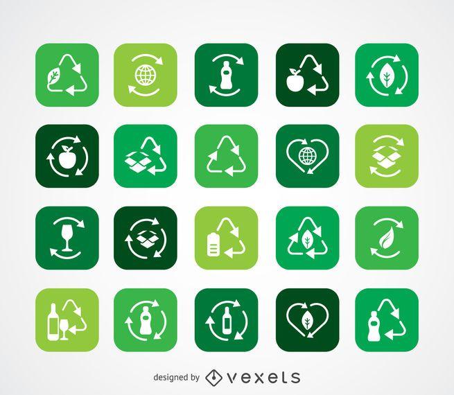 Colección de iconos de ecología y reciclaje.