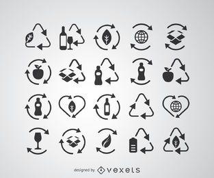 Conjunto de ícones de reciclagem