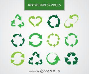 Colección de símbolos de reciclaje.