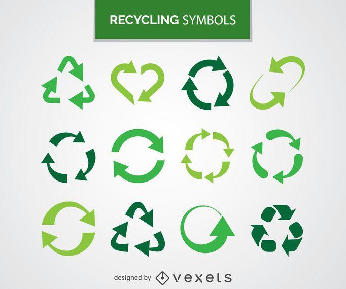 Colección de símbolos de reciclaje